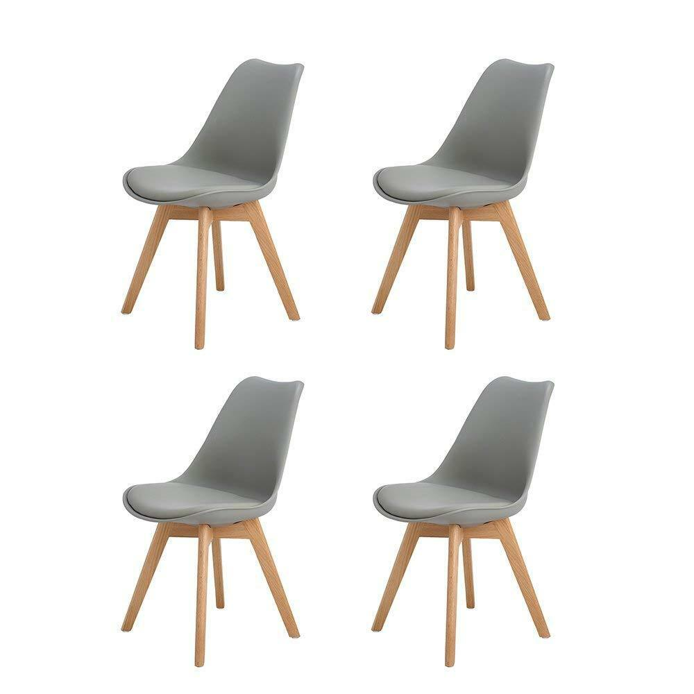 Modern Kitchen Chairs 4pcs Modern Dining Chair With Solid Oak Wood Legs Office Kitchen Chairs Grey