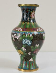 """Chinese Cloisonne Vase Decorated with Flowers and Key Ground 10 1/8"""" tall"""