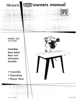 1972 Craftsman 113.29511 Commercial Radial Arm Saw-Owners