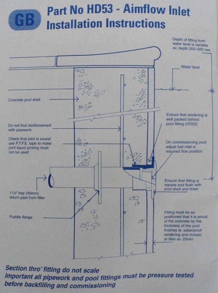 hight resolution of certikin hd53c directional eyeball water inlet concrete swimming pool ebay