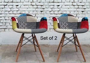 tub fabric accent chair patchwork outdoor dining cushion vintage armchair furniture retro wooden legs set of 2 | ebay