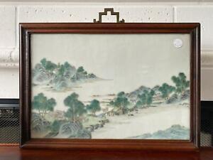 👀Antique Chinese Landscape Porcelain Wall Plaque