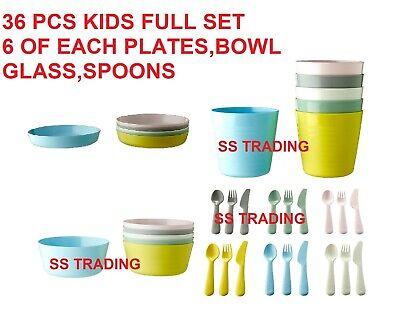 ikea kalas children s kids plastic plate cups bowls and cutlery set ebay