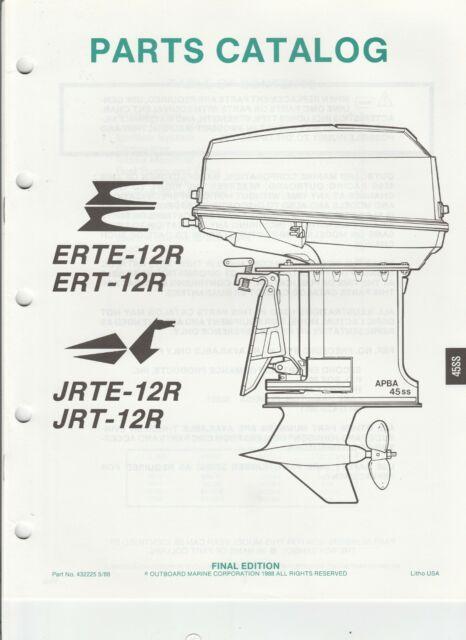 1988 OMC Evinrude Outboard Parts Catalog ERTE ETR 12R JRT