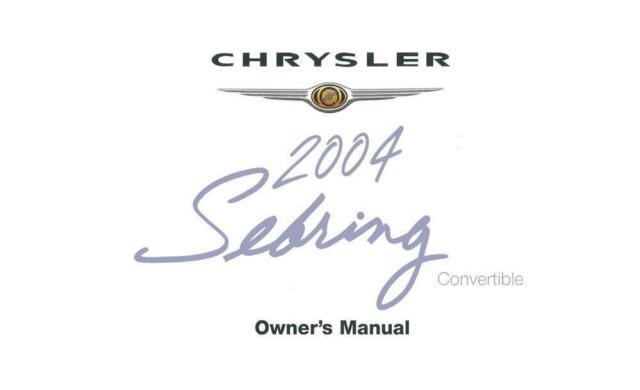 OEM Maintenance Owner's Manual Bound Chrysler Sebring