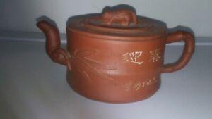 Antique Chinese YiXing ZiSha Carving Teapot