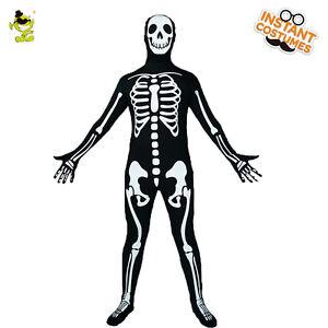 Men Scary Skeleton Skull Skin Costume 3D-Print Fancy Dress