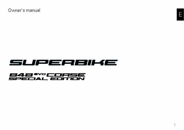 Ducati Owners Manual Book 2012 SUPERBIKE 848 EVO CORSE
