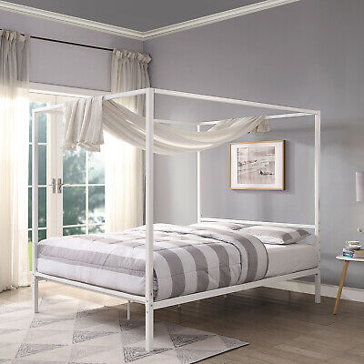 modern white four poster bed frame metal bed frame single double king size ebay