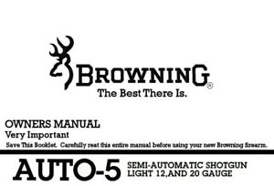 Browning Auto-5 Semi-Auto Shotgun Printed Owners Manual