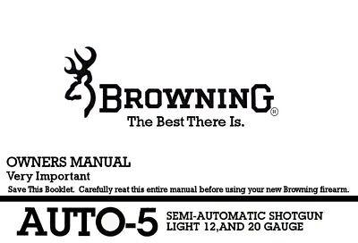 Browning Auto-5 Semi-Auto Shotgun Printed Owners Manual
