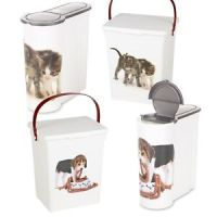 Cat Dog Pet Food Storage Container Box Bucket Bin Table ...