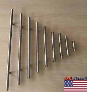kitchen cabinet door knobs organizer ideas stainless steel t bar modern handles drawer image is loading
