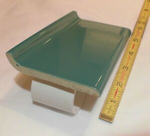 details about 1 pc glossy pine green 4 x 6 ceramic cove base tile bullnose top nos