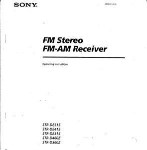 Sony STR-DE315 Amplifier / Receiver Owners Instruction