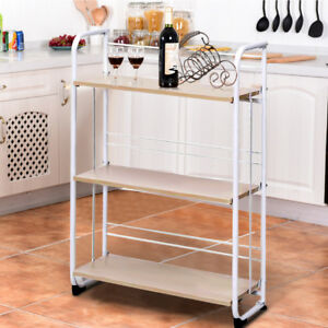 folding kitchen cart cabinets knotty alder details about 3 4 tier serving utility trolley dinning storage uk image is loading