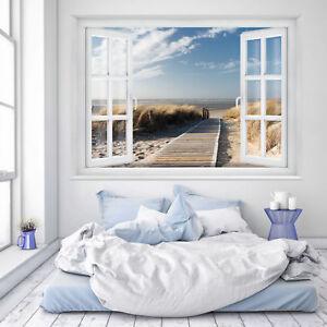 FOTOTAPETE Fenster 3D Strand 183 x 127cm Meer Strand Dünen Ostsee Nordsee Tapete eBay