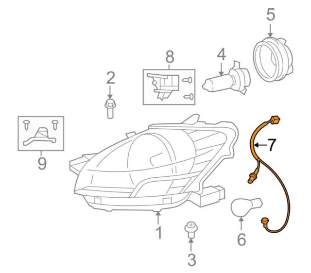 For Toyota Genuine Headlight Wiring Harness Front