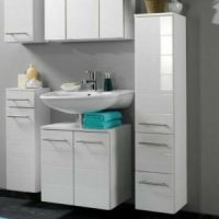 Wall Mounted Bathroom Cabinet White Gloss Long Tall