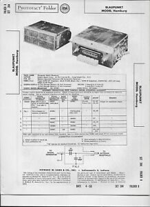 1958 PHOTOFACT Blaupunkt Auto AM Radio Receiver Model