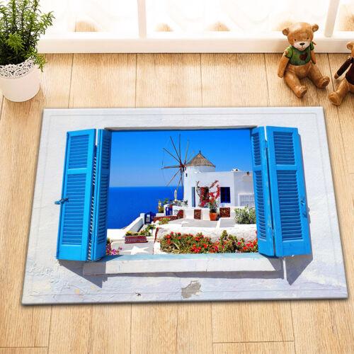 shower curtains greece windmill in santorini seaside scenery shower curtain bath mat rug carpet home garden
