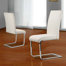 black dining room chairs with chrome legs sex on dental chair 2 x fairmont durante faux leather padded white 2x set pair furniture