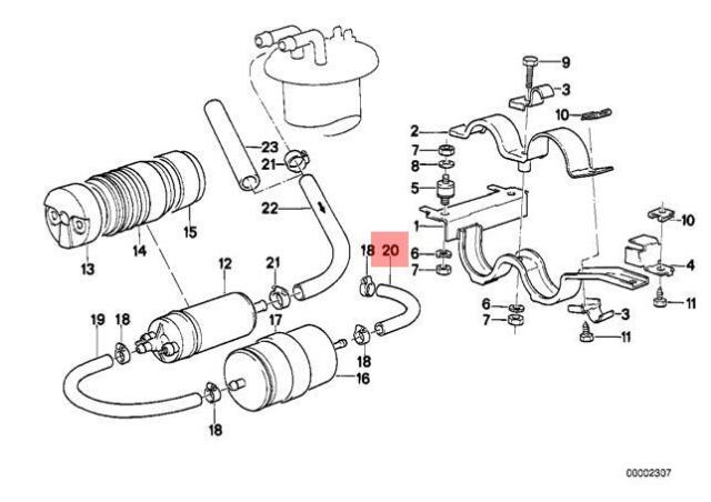 Genuine BMW E24 E28 Coupe Sedan Fuel Feed Filter Pump Hose