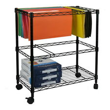 1/2 Tier Layer Metal Rolling Mobile File Cart Office Supplies Black