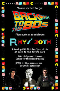 details about eighties birthday invitation 80s party back to the future pacman invitation
