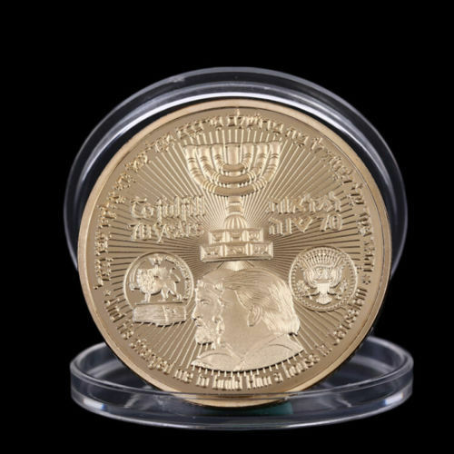 2018 King Cyrus Donald Trump Gold Plated Coin Jewish Temple Jerusalem Israel   eBay