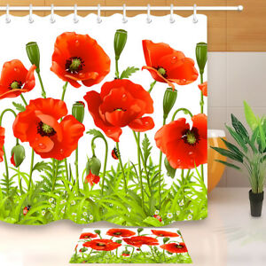 details about green leaves ladybug red poppy shower curtain hook bathroom mat waterpoof fabric