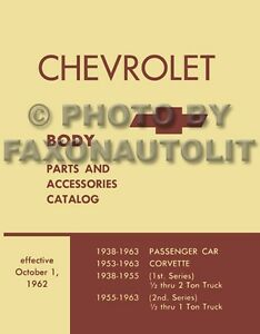 19571963 Chevy Body Parts Book Catalog Illustrated