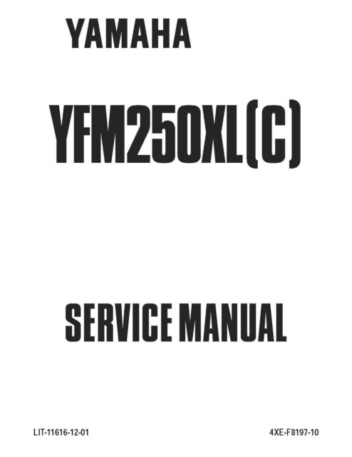 Yamaha service workshop manual 1999 BEAR TRACKER YFM250XL