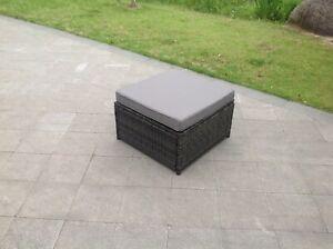 details about rattan big footstool outdoor garden furniture patio furniture grey