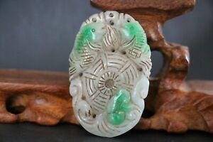Genuine Jadeite Emerald Jade Pendant Fish RuYi ,Auspicious Statues