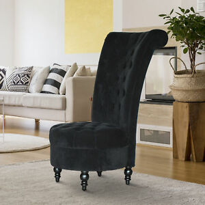 high back chairs living room hdb design ideas singapore homcom 45 tufted velvet accent chair soft image is loading 034