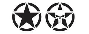Set of 2 Army Star Decals Jeep Wrangler Rubicon Window