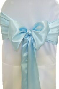 baby blue chair covers walmart pads 100 satin cover sash bows 6 x 108 banquet wedding image is loading