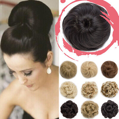 Real Thick Straight Curly Bun Hair Piece Scrunchie Natural