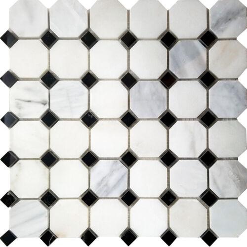 black white octagon marble stone mosaic tile kitchen shower kitchen backsplash home improvement patterer home garden