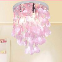 Pink Crystal Shell Pendant Lamp Chandelier Lighting ...