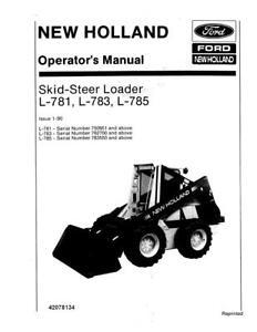 NEW HOLLAND FORD L781 L783 L785 LOADER OM 1989 OPERATOR`S