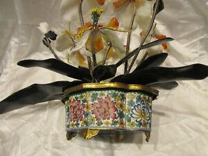 Chinese Export Carved Quartz Carnelain Jade Bonsai Sculpture Cloisonne Vase