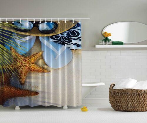 badzubehor textilien tropical seaside shower curtain beach starfish flip flop nautical bath decor mobel wohnen freezer labels com