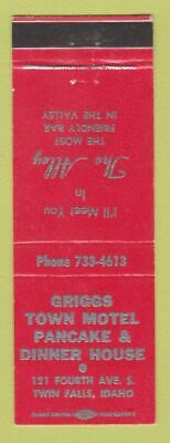 Matchbook Cover - Griggs Town Motel Pancake Restaurant Twin Falls ID   eBay