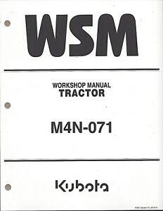 Kubota M4N-071 Tractor Workshop Service Manual 9Y111-16720