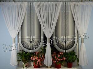 Fenster 180 cm Gardine Komplett Dekoration Wohnzimmer Wei Grau Schwarz 00552  eBay