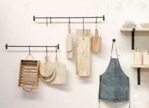 kitchen hooks ceramic tile floor hanging rail s utensil pot pan storage black iron image is loading amp