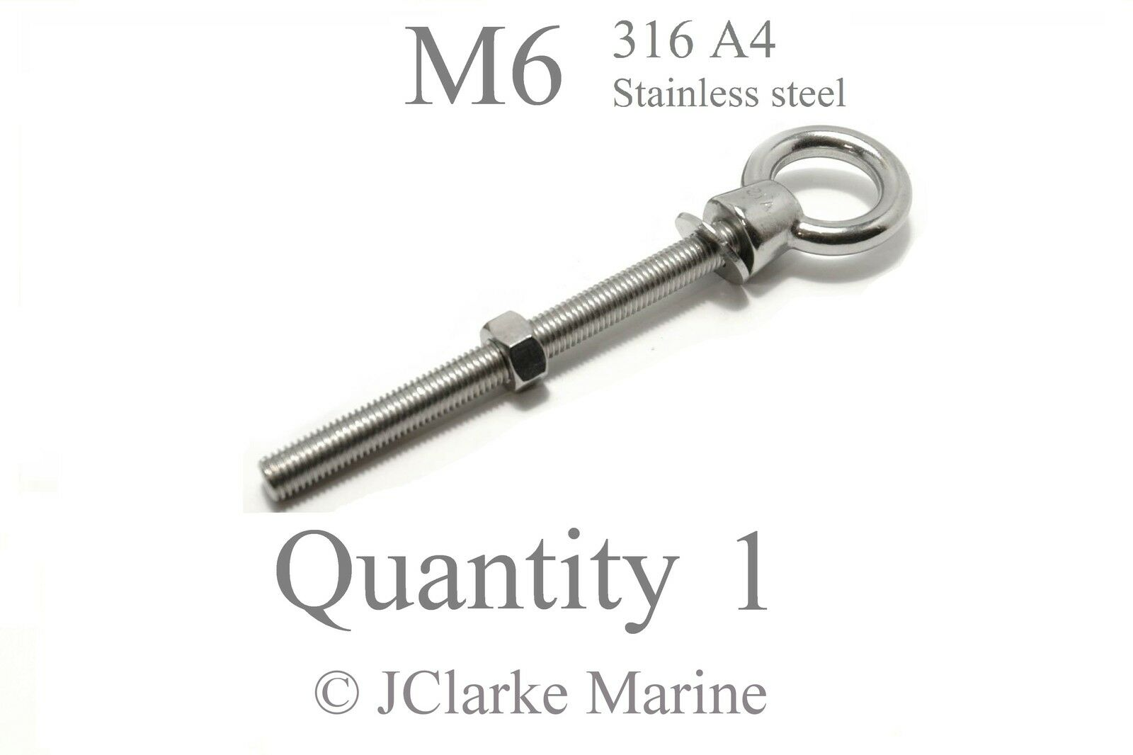 M6 Eye bolt & nut DIN 580 marine stainless steel (316 A4