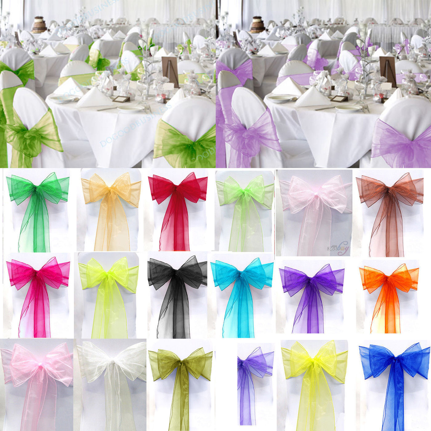 How To Make Chair Sashes Various Color Organza Chair Cover Sash Bow Wedding Party